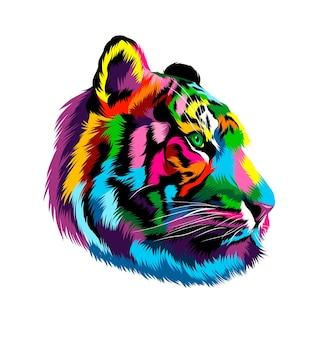 Portret głowy tygrysa z wielobarwnych farb splash realistycznego rysunku w kolorze akwareli