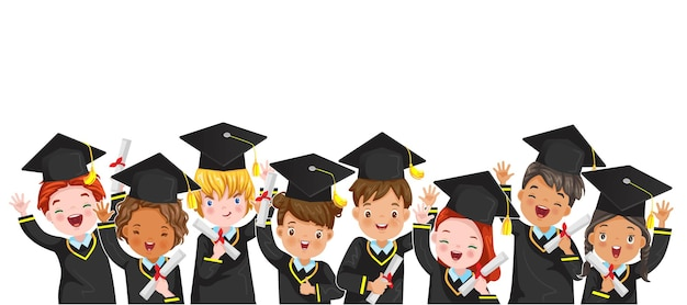 Portret grupy dzieci absolwentów z postaciami międzynarodowego dziecka