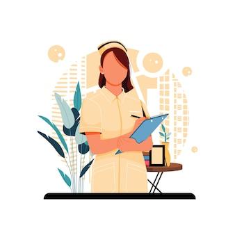 Portret ilustracji postaci pielęgniarki