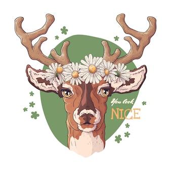 Portret jelenia z wieńcem stokrotek.