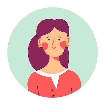 Portret kobiecej postaci, ikona na białym tle koło lub awatar osobistości z długimi włosami i rumieńcem na policzkach. nieśmiała nastolatka, słodkie zdjęcie nastolatka dla mediów. dziewczyna, wektor w stylu płaski