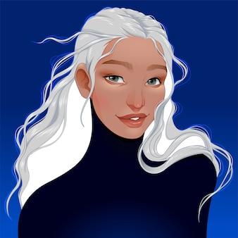 Portret kobiety o siwych włosach.