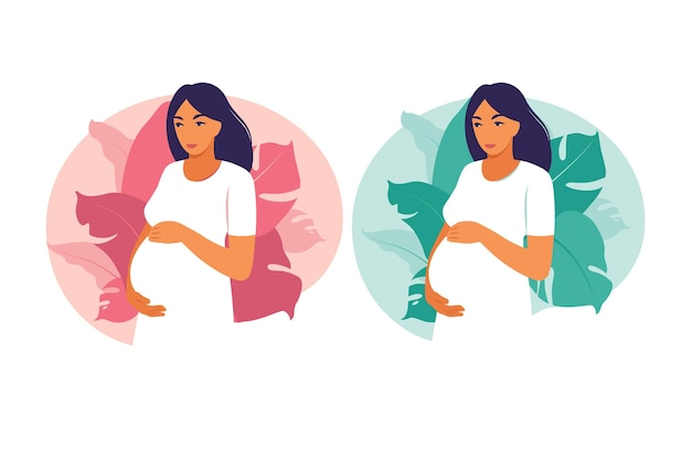 Portret kobiety w ciąży w sukni na tle roślin. zdrowie, opieka, ciąża. ilustracja wektorowa. mieszkanie