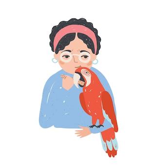 Portret kobiety w okularach trzyma jej papuga ara i karmi go. piękna kobieta postać z kreskówki z egzotycznym ptakiem. miłość i opieka nad zwierzętami. kolorowa ilustracja wektorowa w stylu płaskiej kreskówki