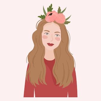 Portret Kobiety Z Koroną Kwiatów Premium Wektorów