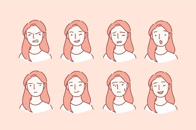 Portret kobiety z różnymi wyrazami twarzy.