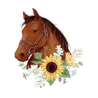 Portret konia w cyfrowym stylu akwareli z bukietem słoneczników i stokrotek
