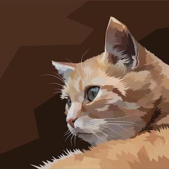Portret kota pop-artu na białym tle