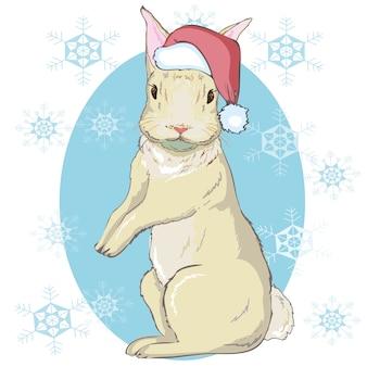 Portret królika bożego narodzenia w kapeluszu świętego mikołaja. ilustracja wektorowa wyciągnąć rękę.
