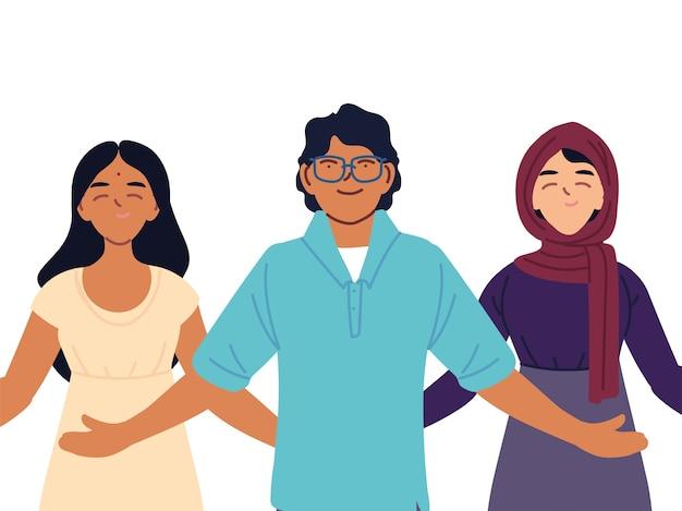 Portret ludzi razem, różnorodność lub wielokulturowość.