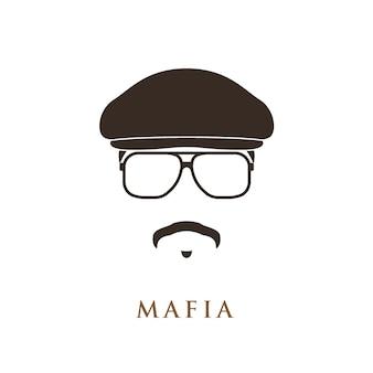 Portret mafioso na białym tle