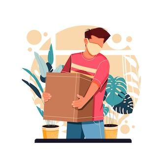 Portret męskiej postaci niosąc pudełko