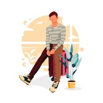 Portret męskiej postaci siedzącej na walizce