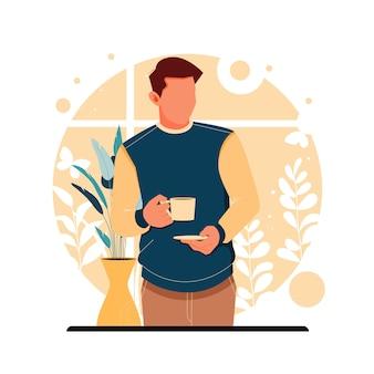 Portret mężczyzny trzyma filiżankę kawy, mieszkanie.