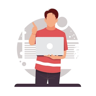 Portret mężczyzny trzymającego laptopa wyświetlono kciuk w górę płaska konstrukcja w płaska konstrukcja