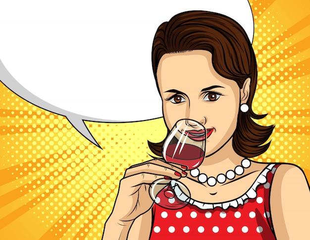 Portret młoda piękna dama z szkłem czerwone wino