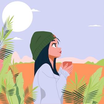 Portret młode kobiety z roślinami