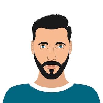 Portret młodego mężczyzny z brodą i fryzurą. męski awatar. ilustracja wektorowa.