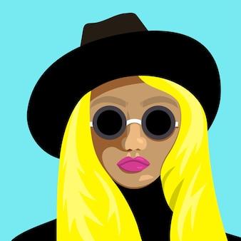 Portret młodej dziewczyny blondynka w okularach i kapeluszu. płaskie ilustracji wektorowych.