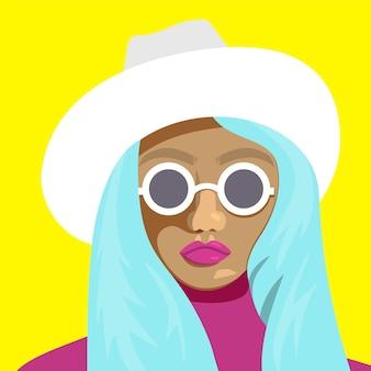 Portret młodej dziewczyny niebieski w okularach i kapeluszu. płaskie ilustracji wektorowych.