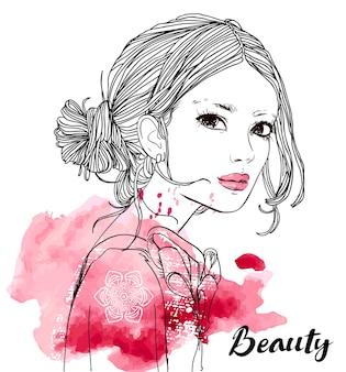 Portret młodej pięknej kobiety - czarno-biała ilustracja wektorowa z akwarelą