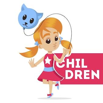 Portret młodej postaci. mała dziewczynka z balonem. śliczna uczennica. małe dziecko. cute little girl head character. szkic ilustracja kreskówka na białym tle.