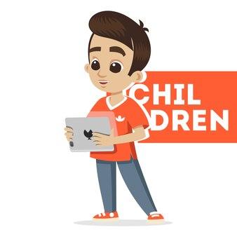 Portret młodej postaci. szczęśliwy chłopiec kreskówka z tabletem. śliczny uczeń. małe dziecko. ładny mały chłopiec postać głowy. szkic ilustracja kreskówka na białym tle.