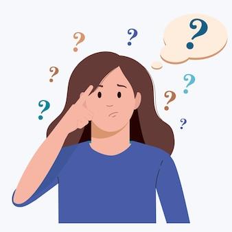 Portret młodej zmartwionej kobiety dziewczyna ze znakiem zapytania w myślowej bańce ludzie myślący