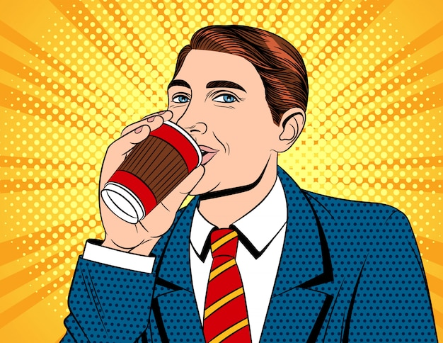 Portret młody przystojny facet w kostiumu z papierową filiżanką gorący napój
