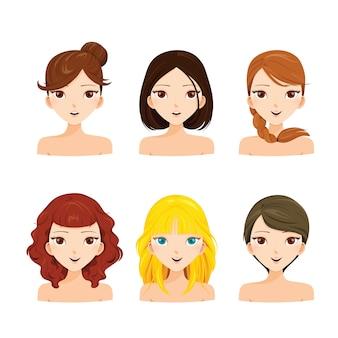 Portret młodych kobiet twarze z różnymi fryzurami i skórą