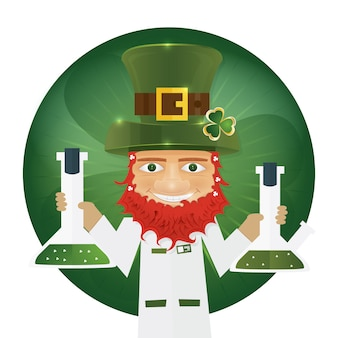 Portret naukowca leprechaun trzymając kolbę w rękach.