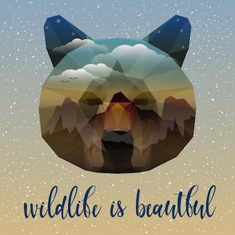 Portret niedźwiedzia i odręczny cytat. ręcznie robiona dzika przyroda to piękny cytat, ręcznie rysowana głowa niedźwiedzia na projekt koszulki, karty, zaproszenia, broszur, książki, albumu, tatuażu itp. podwójna ekspozycja.