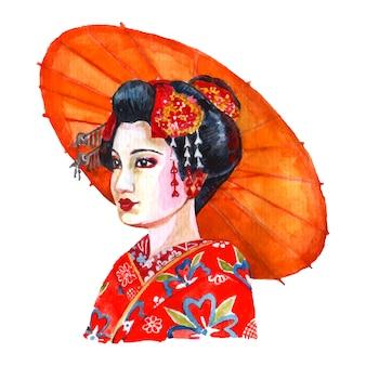 Portret piękna japońska dama w tradycyjnych kobietach odziewa i włosiany przygotowania