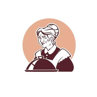 Portret pięknej babci i domowej roboty jedzenie na logo, etykietę, emblemat