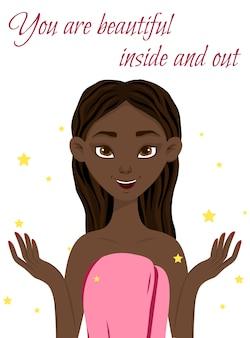 Portret pięknej ciemnoskórej dziewczyny. styl kreskówkowy. ilustracja.