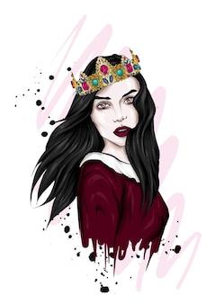 Portret pięknej dziewczyny w koronie