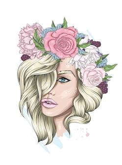 Portret pięknej dziewczyny w wieniec kwiatowy