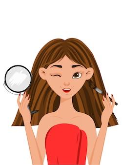 Portret pięknej dziewczyny z makijażem