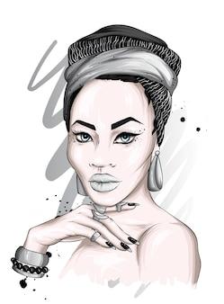 Portret Pięknej Kobiety W Turbanie Premium Wektorów