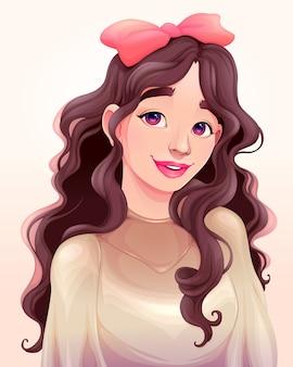 Portret pięknej młodej dziewczyny.