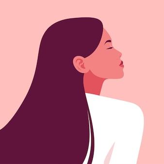 Portret pięknej młodej kobiety z długimi włosami