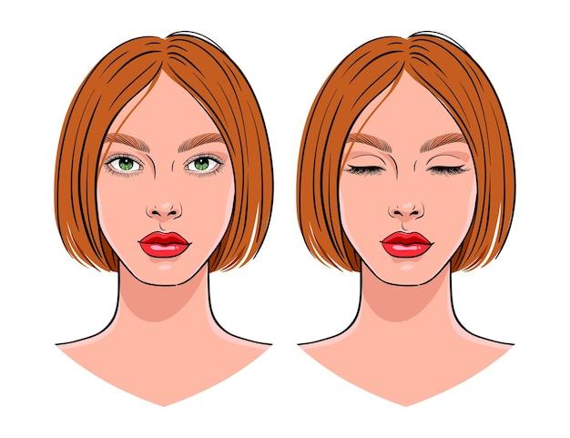 Portret pięknej młodej kobiety z oczami otwarte i zamknięte.