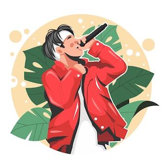 Portret piosenkarka płaskiej ilustracji wektorowych