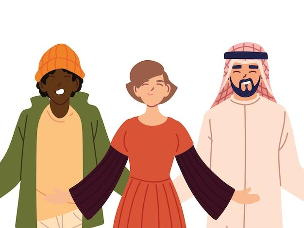 Portret przyjaciół razem, różnorodność lub wielokulturowość.