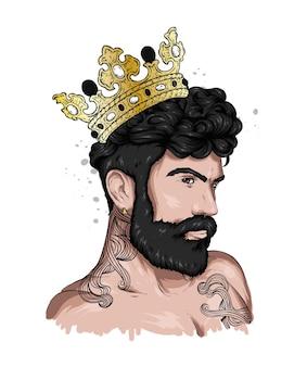 Portret przystojnego faceta ze stylową fryzurą