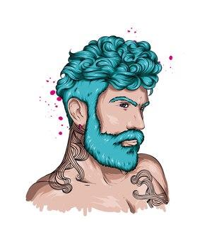 Portret przystojnego mężczyzny ze stylową fryzurą