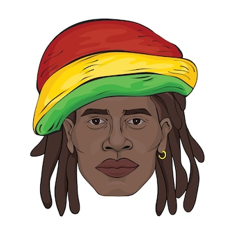 Portret rastamana. twarz czarnego mężczyzny w kapeluszu rastamana. ilustracja na białym tle.