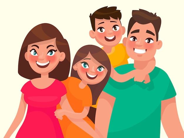 Portret rodzinny. mama tata, córka i syn. ilustracja wektorowa w stylu cartoon