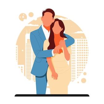 Portret romantyczna para na walentynki