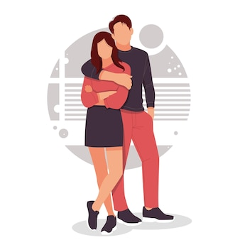 Portret romantycznej pary pozuje w stylowych strojach na walentynki. płaska konstrukcja ilustracja